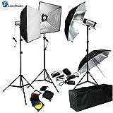 LimoStudio 750W (250W x 3) Professional Photography Studio Flash Strobe Light Lighting Kit Equipment Set, AGG404