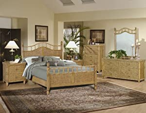 Bali wicker rattan 4 pc bedroom set color antique honey size 66 w x x 57 h for Bamboo bedroom furniture sets