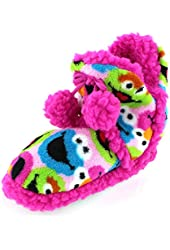 Sesame Street Womens Pink Boot Slippers