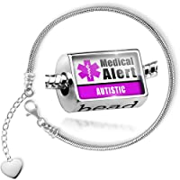 Charm Set Medical Alert Purple Autistic - Bead comes with Bracelet , Neonblond from NEONBLOND