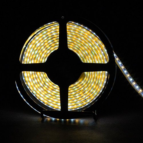 Dvw 16.4Ft (5M) Super Bright Warm White And Daylight White Two Color In One Led Tap Waterproof Flexible Led Strip Lights - 3528 Smd 600Leds 3000K-6000K Color Temperature - Less Heat Emitting Led Light Strip Fixed By 12V Dc Adapter