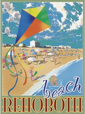 Rehoboth Beach Kite-Art Deco Style Vintage Travel Poster-by Aurelio Grisanty