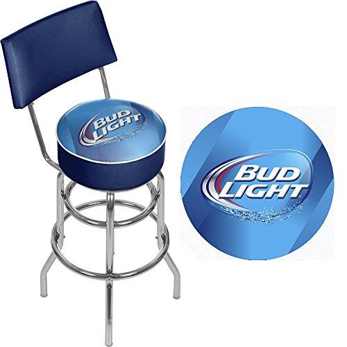 trademark gameroom bud light padded swivel bar stool with back racks. Black Bedroom Furniture Sets. Home Design Ideas