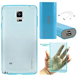 DMG PHNT Premium Scratch-Resistant Ultra Thin Clear TPU Skin Case for Samsung Galaxy Note 4 N9100 (Neon Blue) + 3600 mAh Power Bank