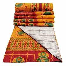 Decorativo Tamaño del edredón doble algodón naranja Gudri Paisley Pattern Vintage Reverssible Colcha