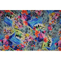 Triveni CREPE Fabrics (TSFD018_ROYAL BLUE)