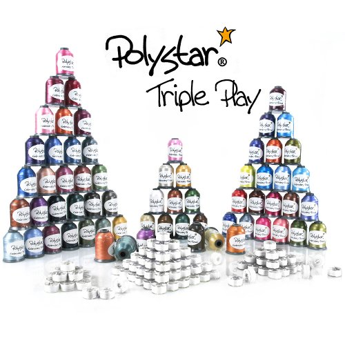 Polystar Triple Play Embroidery Thread Package w/ 42 Country Color 1,100 Yard Embroidery Threads, 23 Nick Color 1,100 Yard Embroidery Threads and FREE!!! 144 Prewound Bobbins Style