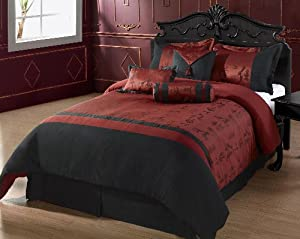 Cozy Beddings Oyuki 7-Piece Comforter Set, California King, Burgundy