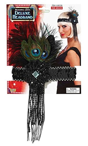 Popcandy Deluxe Black Flapper Headband with Peacock Feather Costume Accessory (Flapper Deluxe Gold & Black Headband)