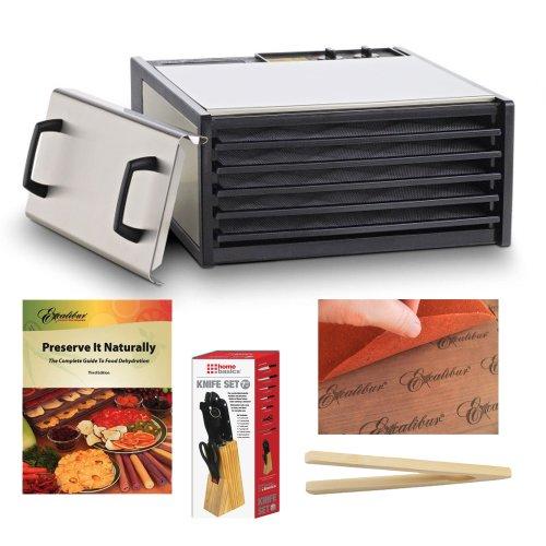 Excalibur 5-Tray Stainless Steel W/Plastic Trays Dehydrator + Preserve It Naturally Book + Paraflexx Premium Reusable Sheet 14X14 + Knife Set 7Pc With Pine Block + Bamboo Toast Tong - 6.5 Inch Long front-628007