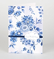 Blue Floral Get Well Card
