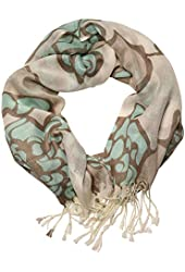 Women's Abstract Floral Art Fringed Scarf