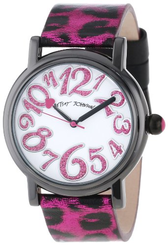 Betsey Johnson Women's BJ00181-12  Analog Metallic Pink Leopard Printed Strap Watch