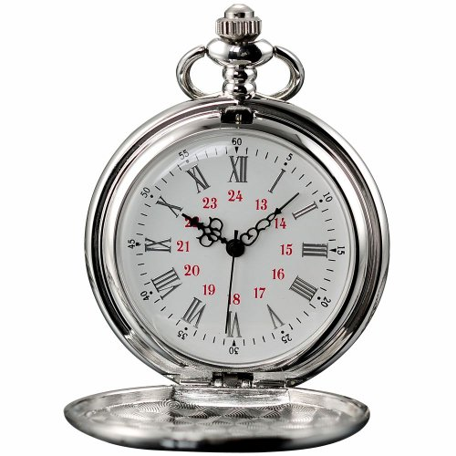AMPM24 Vintage Silver Mens Women Ladies Quartz Pendent Pocket Watch Clock Chain Gift