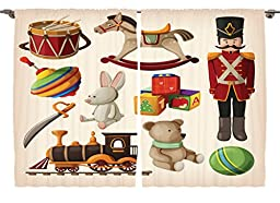 Ambesonne Girls Boys Kids Room Decor Collection, Cartoon Bunny Teddy Bear Blocks Doll Drum Train Sword Rocking Horse Design, Window Treatments for Kids Bedroom Curtain 2 Panels Set, 108X63 Inches