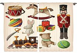 Ambesonne Girls Boys Kids Room Decor Collection, Cartoon Bunny Teddy Bear Blocks Doll Drum Train Sword Rocking Horse Design, Window Treatments for Kids Bedroom Curtain 2 Panels Set, 108X84 Inches