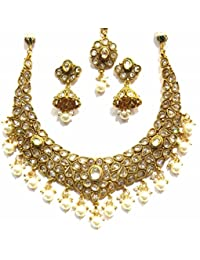 Shingar Jewellery Ksvk Jewels Antique Gold Plated Polki Kundan Necklace Set For Women (8936-as)
