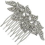 Vintage Magnolia Flower Swarovski Crystal Bridal Hair Comb Clip