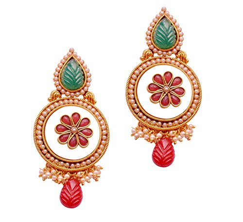 Red 1.1⁰ By Xpressionss Gold Plated Dangle And Drop Earrings With Green And Red Textured Stones And Pearls F-XROE081404 (Multicolor)