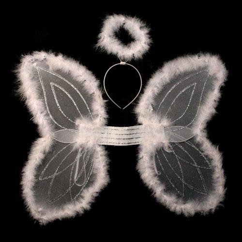 White Marabou Angel Wings & Halo Headband - 1
