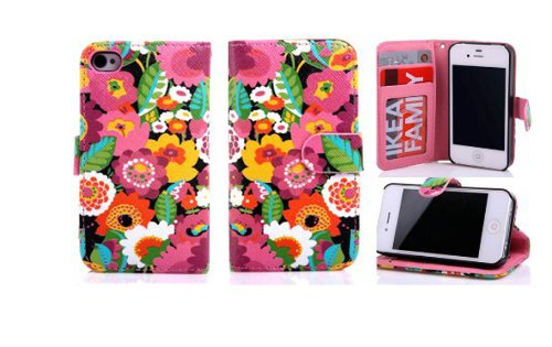 Candywe Colorful Premium Pu Leather Wallet Case Cover Withcredit Card Slots For Cash For Iphone 5 5G 5S