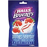 Halls Breezers Cough Drops - Creamy Strawberry - Soothes Everyday Throat Irritations - 25 Drops Per Package - Pack of 2 (50 Drops Total)