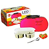 Leo insulated food storage Stainless Steel 2 Container Lunch Box with multipurpose plastic chapati or salad container (pouch colours may be vary)