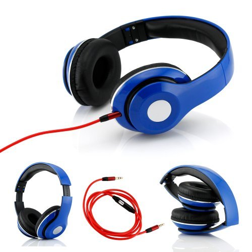 Gearonic Tm Adjustable Circumaural Over-Ear Earphone Stero Headphone With Built-In Microphone Iphone Ipad Android Ipod Mp3 Mp4 Pc - Blue
