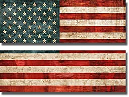 Allegiance by Luke Wilson 2-pc Premium Stretched Canvas Custom United States Horizontal Flag Set (Ready to Hang)