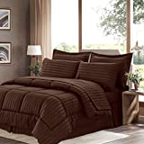 Sweet Home Collection 8 Piece Bed In A Bag With Dobby Stripe Comforter, Sheet Set, Bed Skirt, And Sham Set - King... - B01A1GDKPE