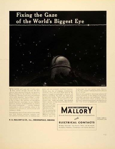 1939 Ad Mallory Electrical Contacts Mount Palomar Cit - Original Print Ad
