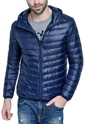 Men's Hooded Packable Down Puffer Coat Lightweight Down Fall and Winter Jacket Navy Blue US Large(Asian 3XL) (Canada Winter Jacket compare prices)
