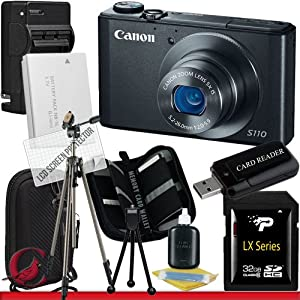 Canon PowerShot S110 Digital Camera (Black) 32GB Package 6