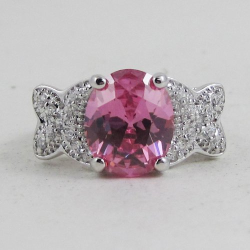 Oval Pink Gem Sterling Silver Ring Size 8