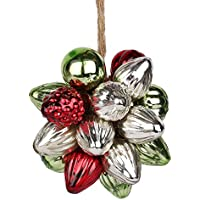 EarthenMetal Handcrafted Multicoloured (Red, Green, Silver) Decorative Glass Ball Hanging (Set Of 20 Glass Balls...