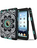 iPad Mini Case,iPad Mini 2 Case,iPad Mini 3 Case,Adela Shop Ultra Slim Fit Bumper Hard Case 3in1 Shockproof for Apple iPad Mini 1/2/3 [Full Body Protective] Lightweight with Pc & Silicone,Center Aqua