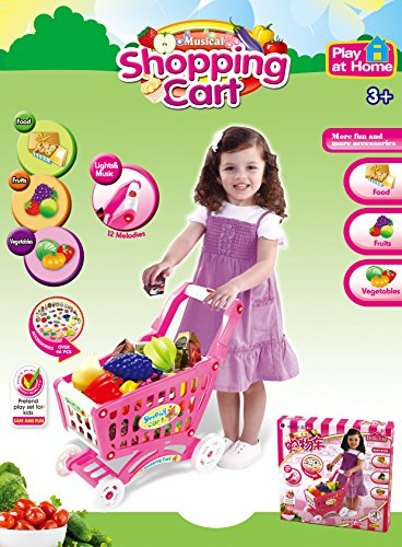 Mini-Shopping-Cart-with-Full-Grocery-Food-Playset-Toy-for-Kids-Pink-by-PowerTRC
