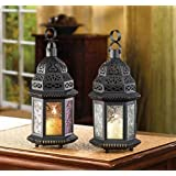 10 FABLED FAR EAST CLEAR GLASS MOROCCAN CANDLE LANTERN WEDDING CENTERPIECES