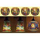 Rajasthani Handpainted Mosaic Glass Hanging Lamp & Candle Holder Combo Set Of 7 Pcs For Rakhi Gift