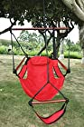 American Phoenix New Deluxe Patio Yard Hanging Hammock, Air Chair Swing Hanging Chair Sky Ride with Solid Wood. (Red)