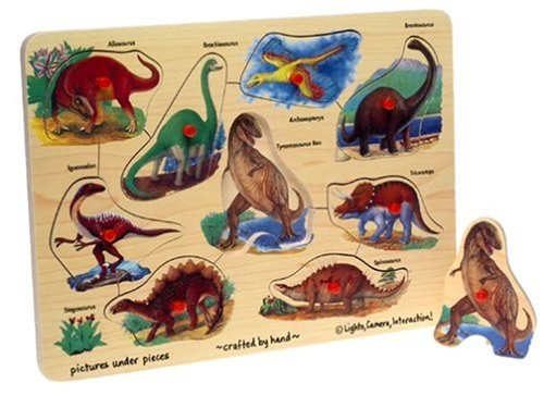 Cheap Toys Wooden Dinosaurs 9-piece Peg Puzzle (B00004WHOV)