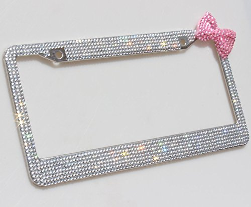 Carfond 7 Row Pure Handmade Waterproof Bling Bling Rhinestones Stainless Steel Metal License Plate Frame With HOT Pink Bow 2 Holes Bonus Matching Screws & Caps (clear/pink bowknot) (License Plate Frame Space compare prices)