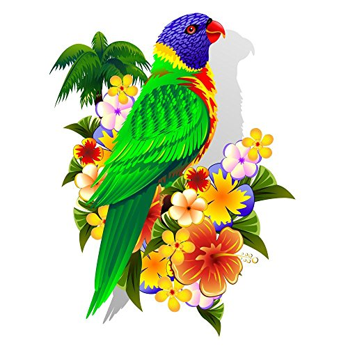Lorikeet on Tropical Flowers Peel and Stick Wall Decal