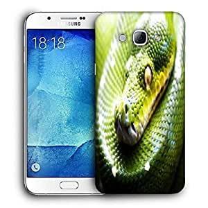 Snoogg Green Snake Printed Protective Phone Back Case Cover For Samsung Galaxy A8