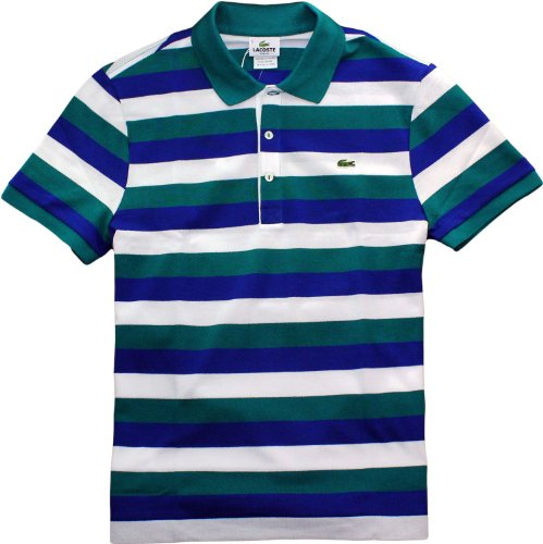 Lacoste Slim-Fit Bold Stripe Pique Polo (XX-Large, Arcadian Green)