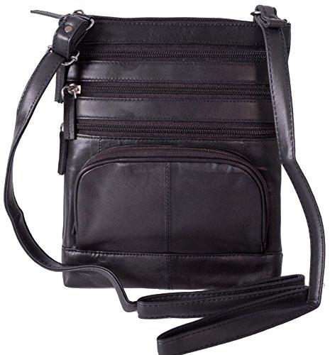 Champs Genuine Leather Cross Body 5 Pocket Zipper Handbag Purse Grey