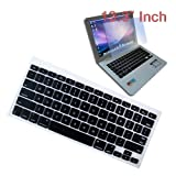 Premium Black Soft Silicone Keyboard Skin Cover + 13.3 inch Clear screen Protector for Apple Macbook/Air 13.3 inch Laptop