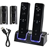 Eforcity Dual Charging Station w/ 2 Rechargeable Batteries & LED Light for Wii Remote Control, Black - (Original Wii Controllers Not Included) Retail Packaging