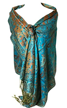 Peach Couture Elegant Teal Reversible Paisley Pashmina Shawl Wrap at