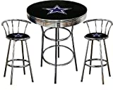 Dallas Cowboys Logo Themed 3 Piece Chrome Metal Finish Bar Table Set with 2 Swivel Seat Cowboys Logo Themed Bar Stools